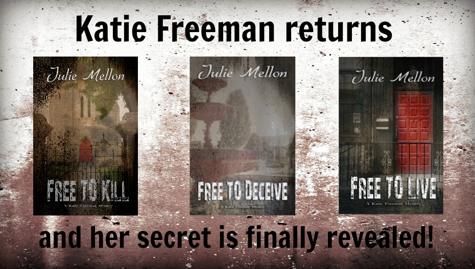 web banner with books Katie Freeman mysteries series | mystery | thriller | https://www.amazon.com/Julie-Mellon/e/B00QOW4IT2/ref=ntt_dp_epwbk_0